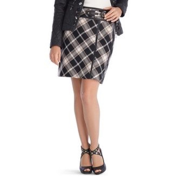 81389b2806 White House Black Market Skirts | Whbm Brown Plaid Buckle Skirt Faux ...